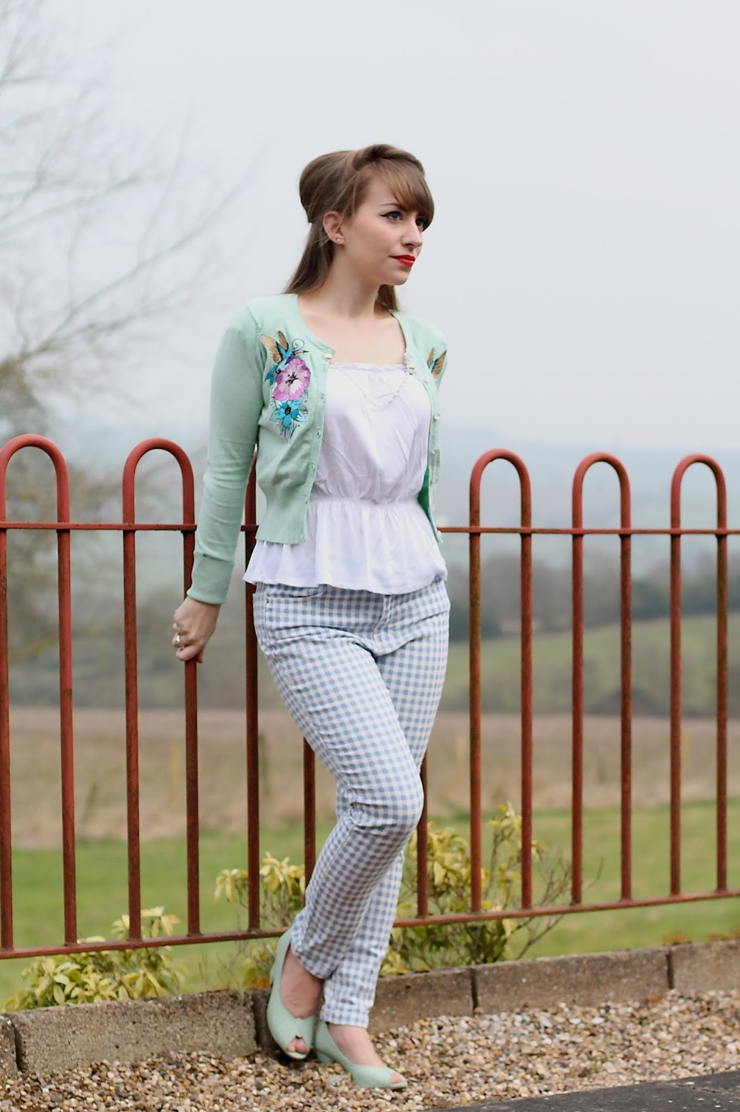 Vintage inspired spring outfit with gingham pants and mint green