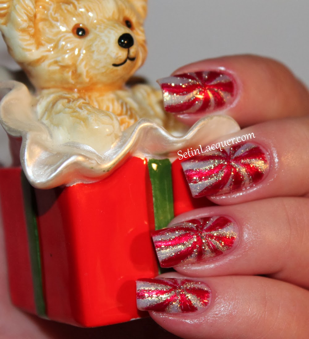 Peppermint Candy Holiday Nail Art