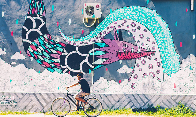 Bicyclist and Dragon Graffiti