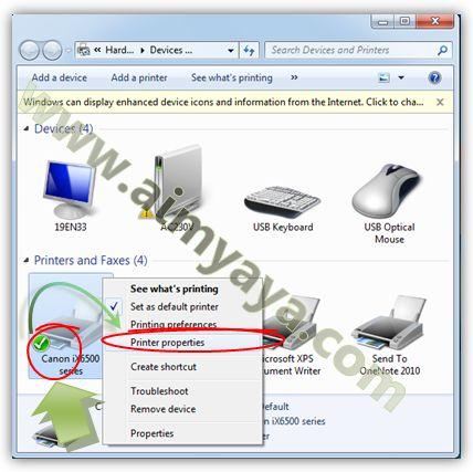 Gambar: Mengakses properties printer yang akan di sharing