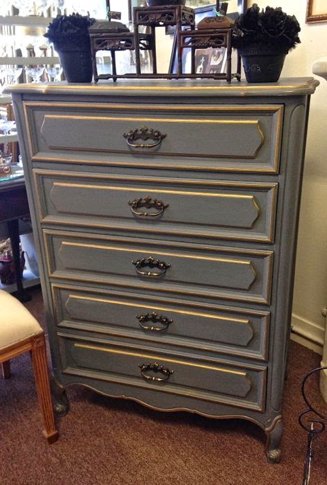 Charcoal gold painted dresser The Pickled Hutch