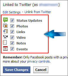 facebook twitter linking