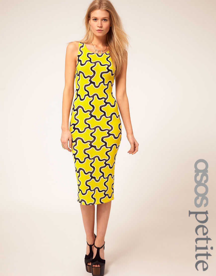 ASOS+PETITE+Exclusive+Midi+Dress+In+Squiggle+Print+front Printed Dresses and Shoes