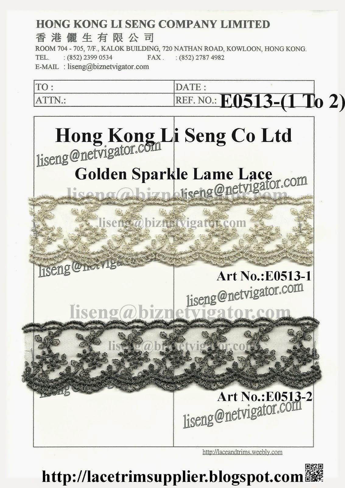 Golden Sparkle Lame Lace Trims Factory - Hong Kong Li Seng Co Ltd