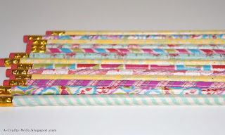 Finshed pencils wrapped with washi tape and covered with Mod Podge | A Crafty Wife