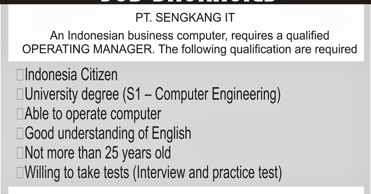 Materi Job Vacancy In English Billion Minds