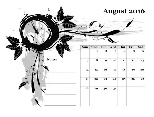 Calendario mensile - Agosto 2016