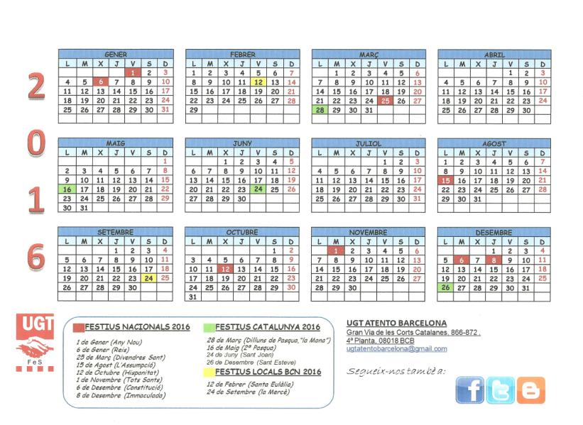 Calendario Escolar Barcelona 2015 2016 | New Style for 2016-2017
