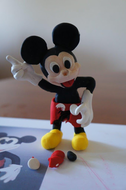 Damaged Fimo Mickey Mouse figurine