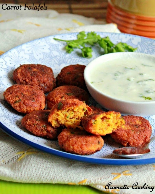 carrot falafels, chickpeas and carrot vadas ( fritters )