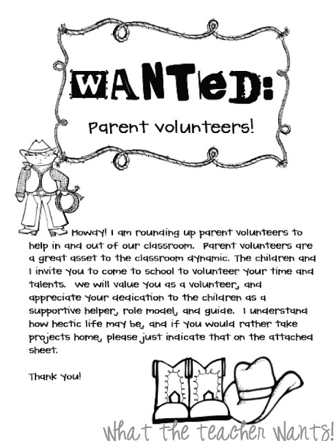 What The Teacher Wants!: Back-2-School {Parent Volunteers}
