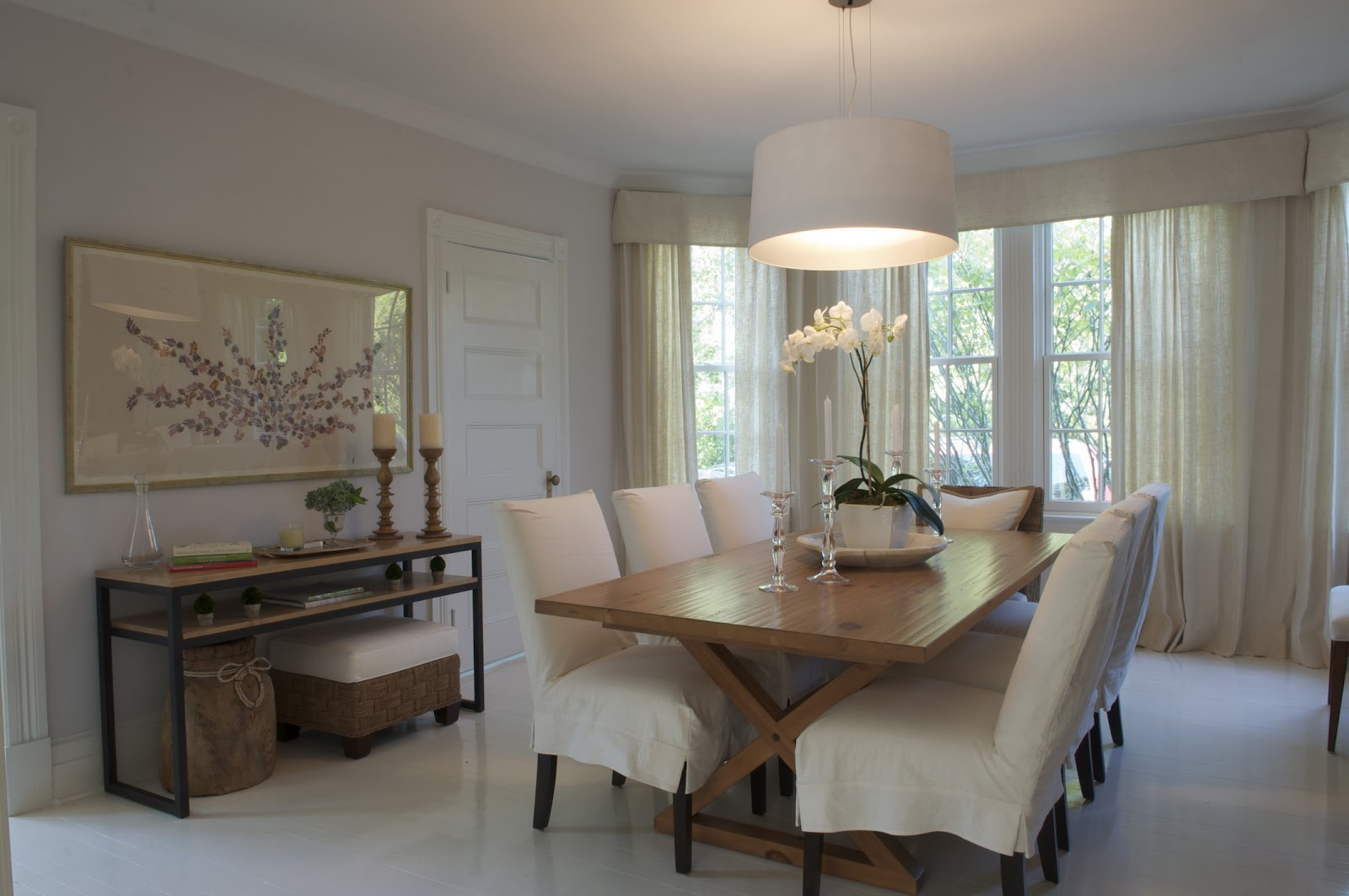 Sheer Curtains In This Dining Room Soften The Strict Lines Of Trestle Table And Iron Based Console Another Hand Made Paper Dried Flower