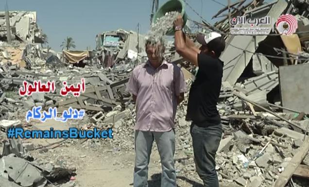 des palestiniens de gaza lancent le challenge du seau de