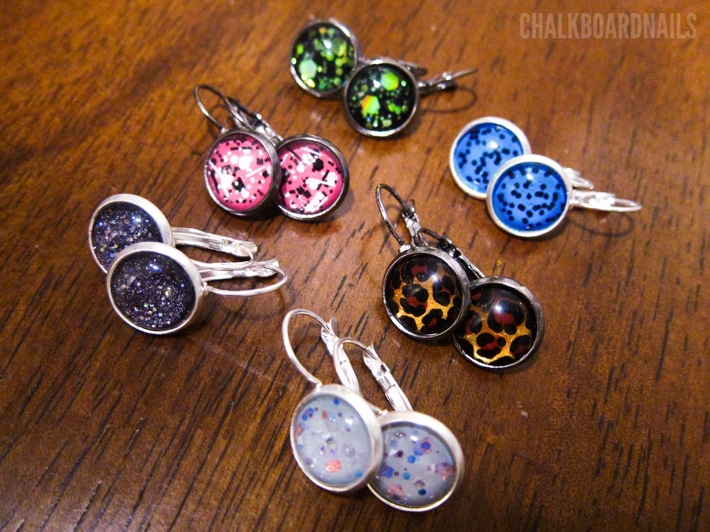 Polish Earrings | Chalkboard Nails | Nail Art Blog