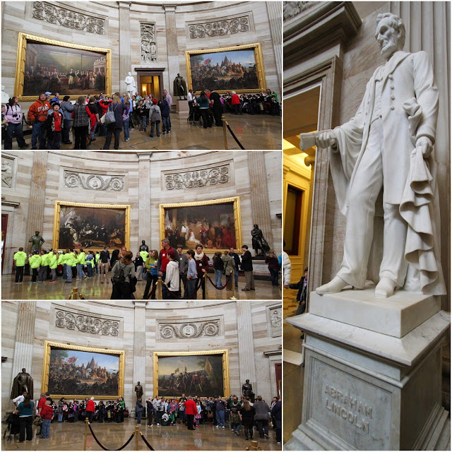 An overview tour at Capitol Rotunda where we witnessed some historical paintings such as Declaration of Independence at United States Capitol in Washington DC, USA