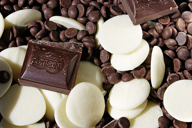 assorted delicious white and dark chocolates