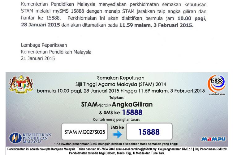 Semakan Keputusan STAM 2014 SMS