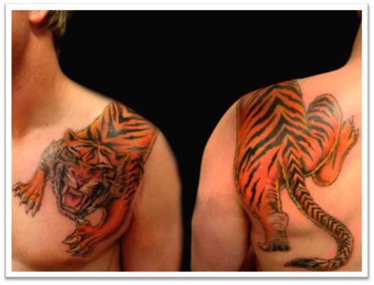 Tiger Shoulder and Chest Tattoos Fashion for Boys