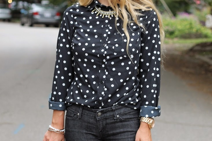 Half United Jasmine Necklace with Polka Dot Blouse