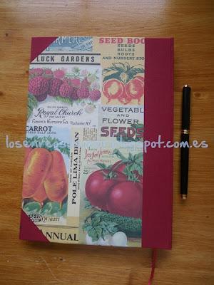 Reverso de libro de recetas de cocina
