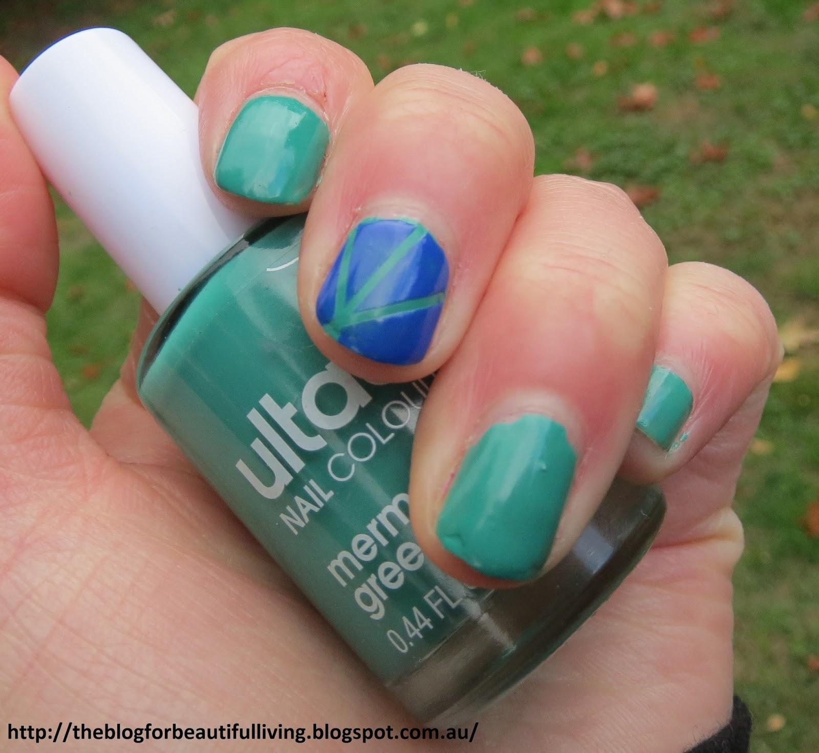 Beautiful Living: Green And Blue Striping Tape Nail Art