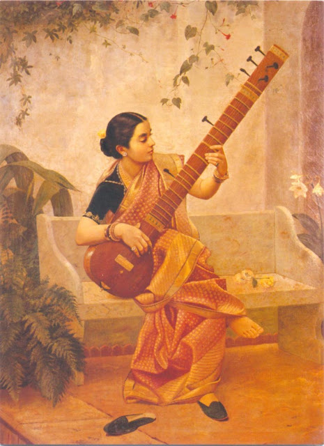 Raja Ravi Varma's Paintings: South Indian Women with Veena