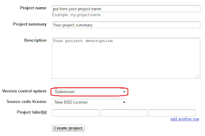 Google Code Create New Project