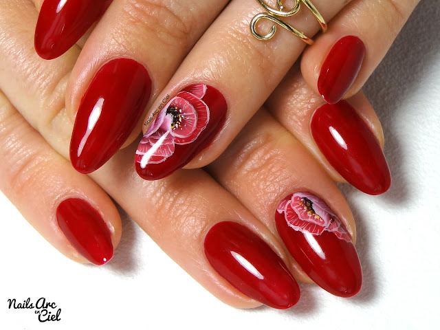 Nail art - Fleur romantique en One Stroke par Nails Arc en Ciel