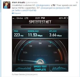Globe LTE speedtest results