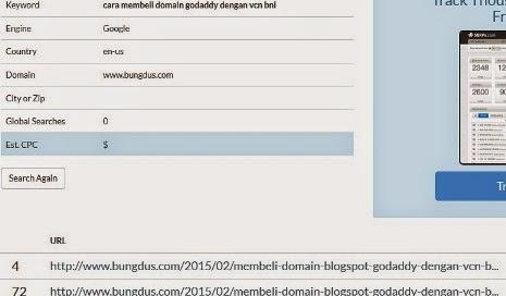 tampilan serps.com untuk cek posisi website atau blog di google