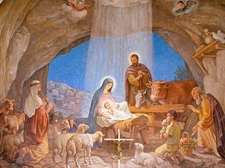 Tarjeta Navidad . Pesebres con el Nacimiento de Jesus