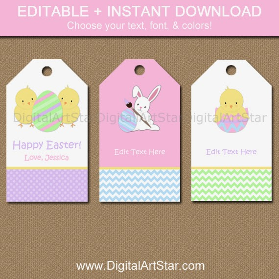 editable Easter gift tags