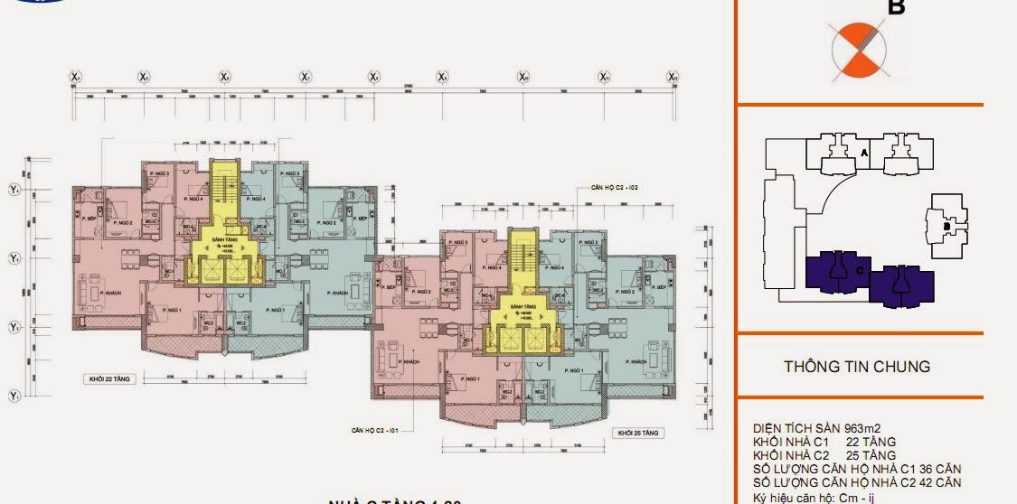 Mặt bằng sàn thiết kế chi tiết tòa C - chung cư Vinaconex 1, 289 Khuất Duy Tiến