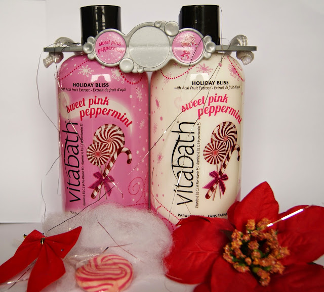 Vitabath Sweet Pink Peppermint Body Wash and Lotion Set, christmas, gift, scent, smell, skincare, bath, gel,beauty, the purple scarf, melanieps, toronto, ontario, canada, review, holiday bliss