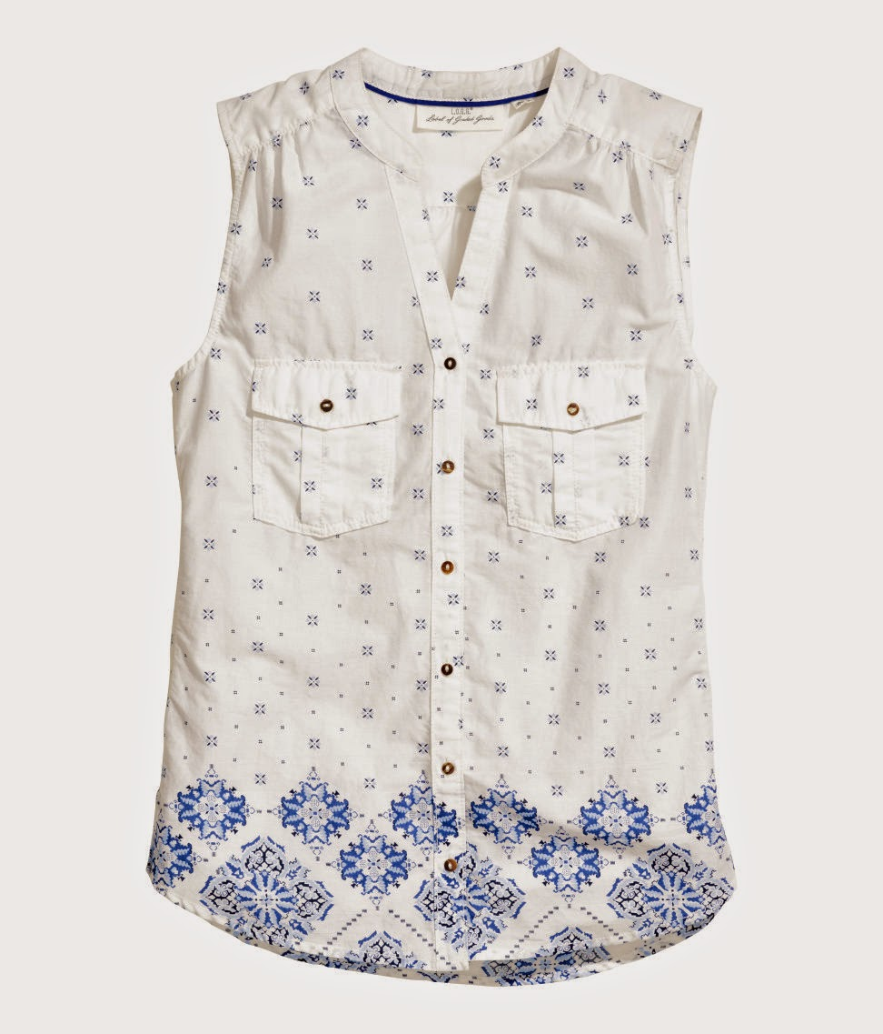 hm white blue top