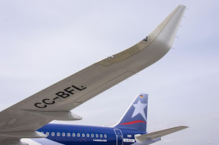 LAN Airlines Airbus A320 with 2.4-metre tall Sharklets