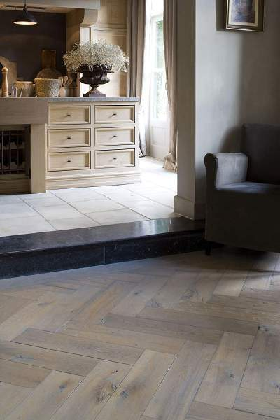 herringbone parquet, image from project 1, 't Achterhuis Historische Bouwmaterial (nl) as seen on linenandlavender.net