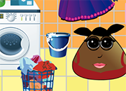 juego Pou Girl Washing Clothes 2