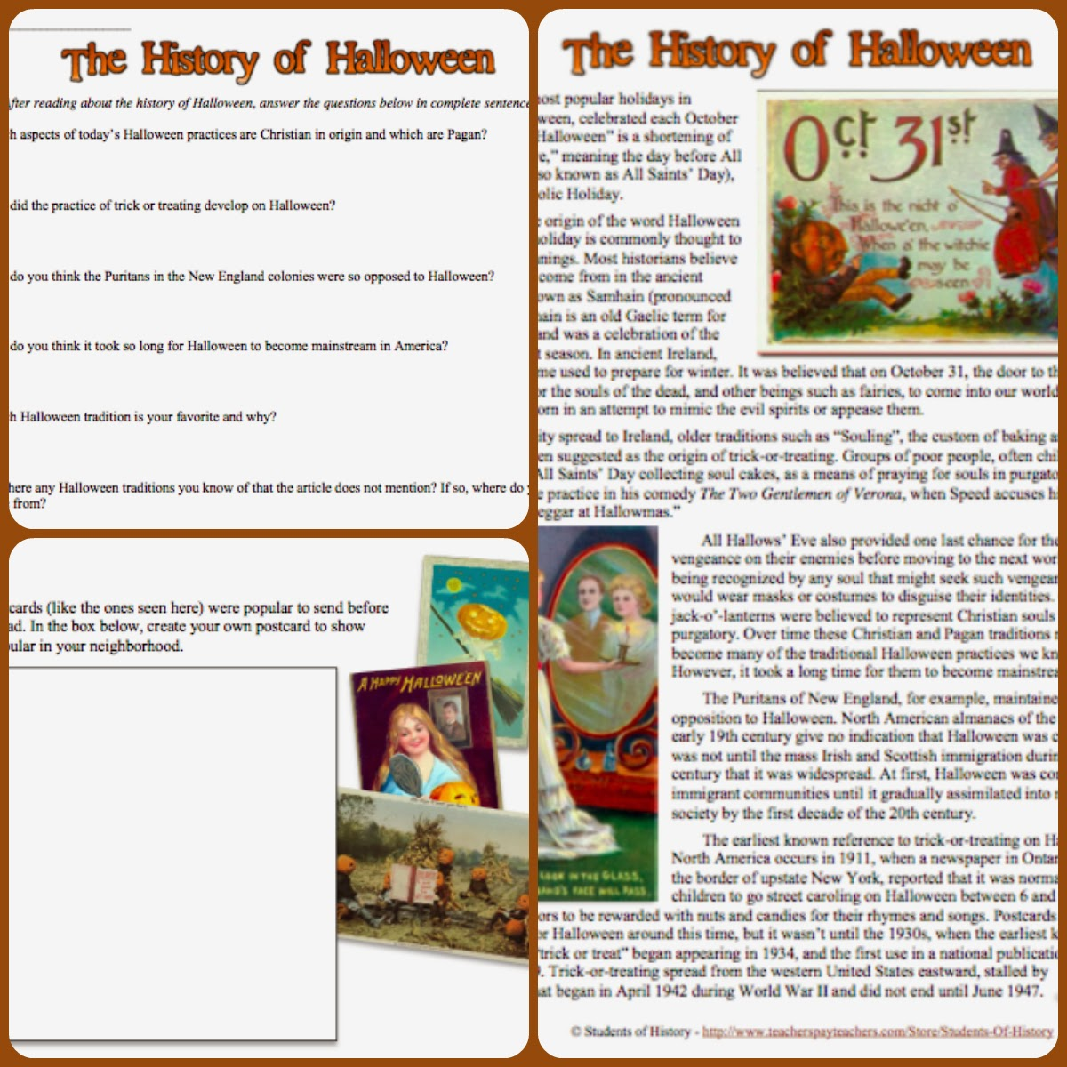 Students of History: The History of Halloween Lesson Plan Worksheet