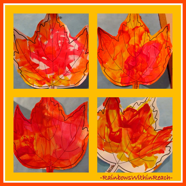 photo of: Painting Leaves in Fall Colors in Preschool via RainbowsWithinReach
