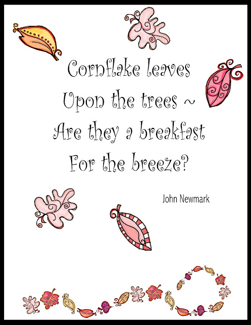 Grade ONEderful: Cornflake Leaves poem by John Newmark with leaf images