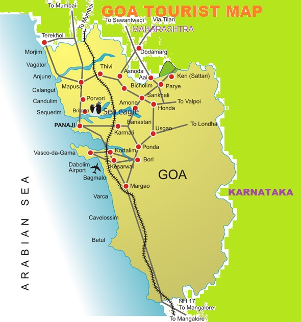 GOA TOURISM MAP TOURIST ATTRACTIONS IN GOA – India Tourist Attractions Map