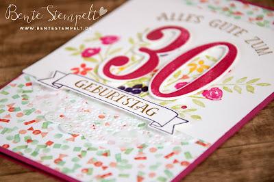 Stampin' Up! Framelits Die Cuts Große Zahlen Designerpapier DSP Geburtstagsstrauß Birthday Bouquet Large Numbers Number on years So viele Jahre doily Spitzendeckchen