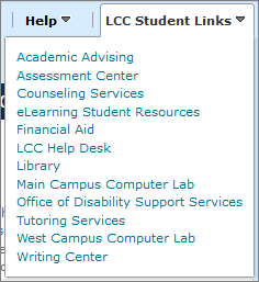 LCC Student Link List within Desire2Learn