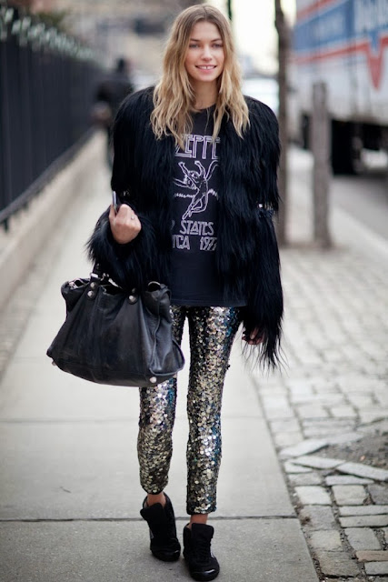 sequin pants - street style