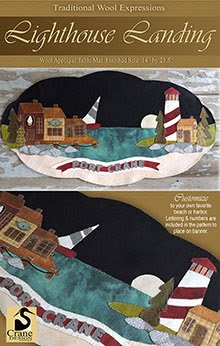 "Lighthouse Landing Wool Applique Runner 14"" x 25.5"""