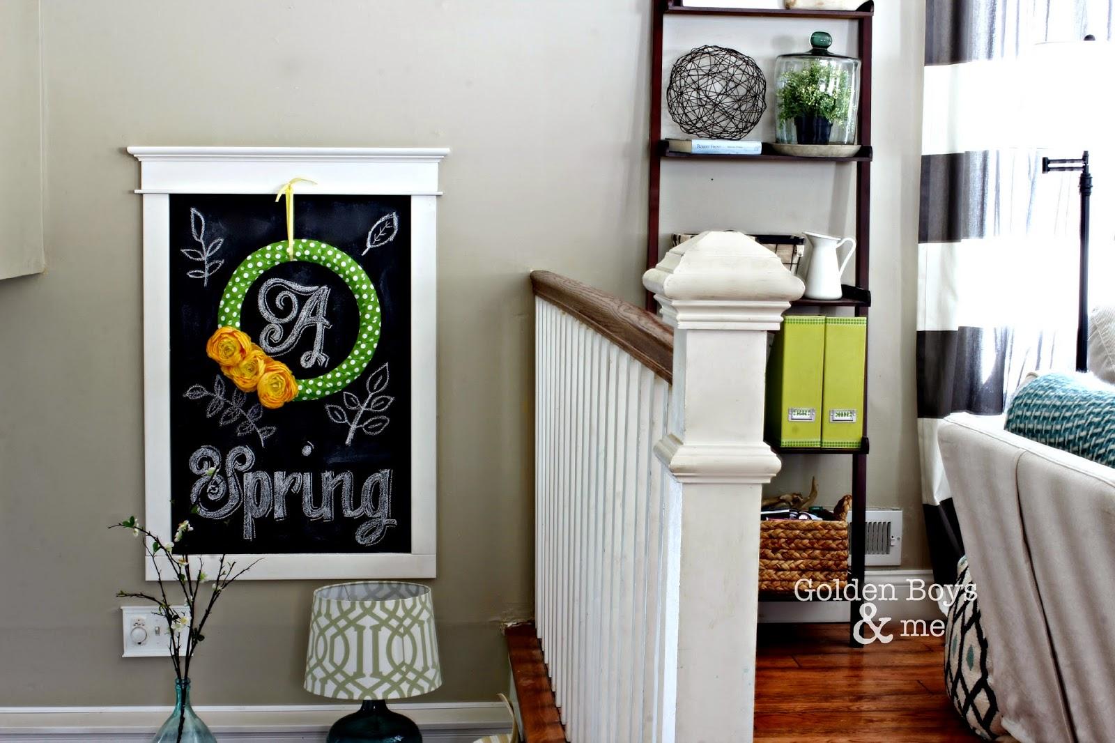 Spring decor in entryway in split level home-www.goldenboysandme.com