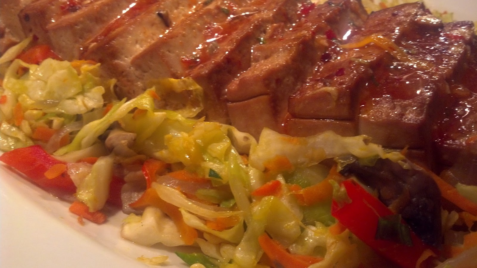 Oven-roasted Tofu with housin, sesame and warm cabbage salad ...