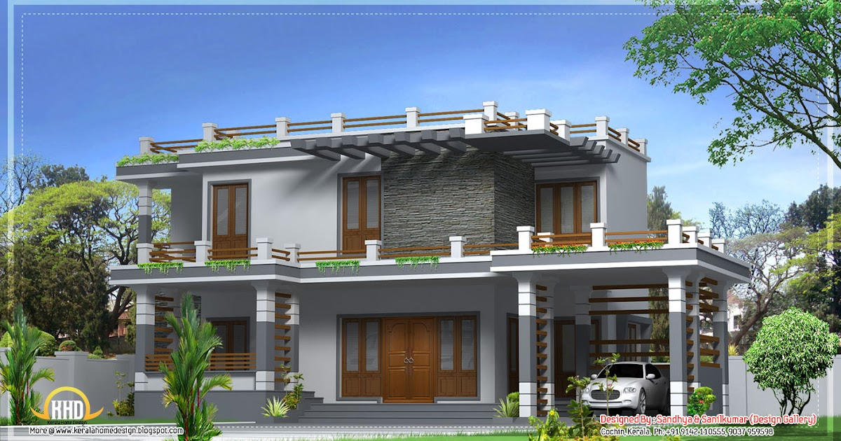 House plans and design contemporary house plans of kerala for Contemporary style homes in kerala