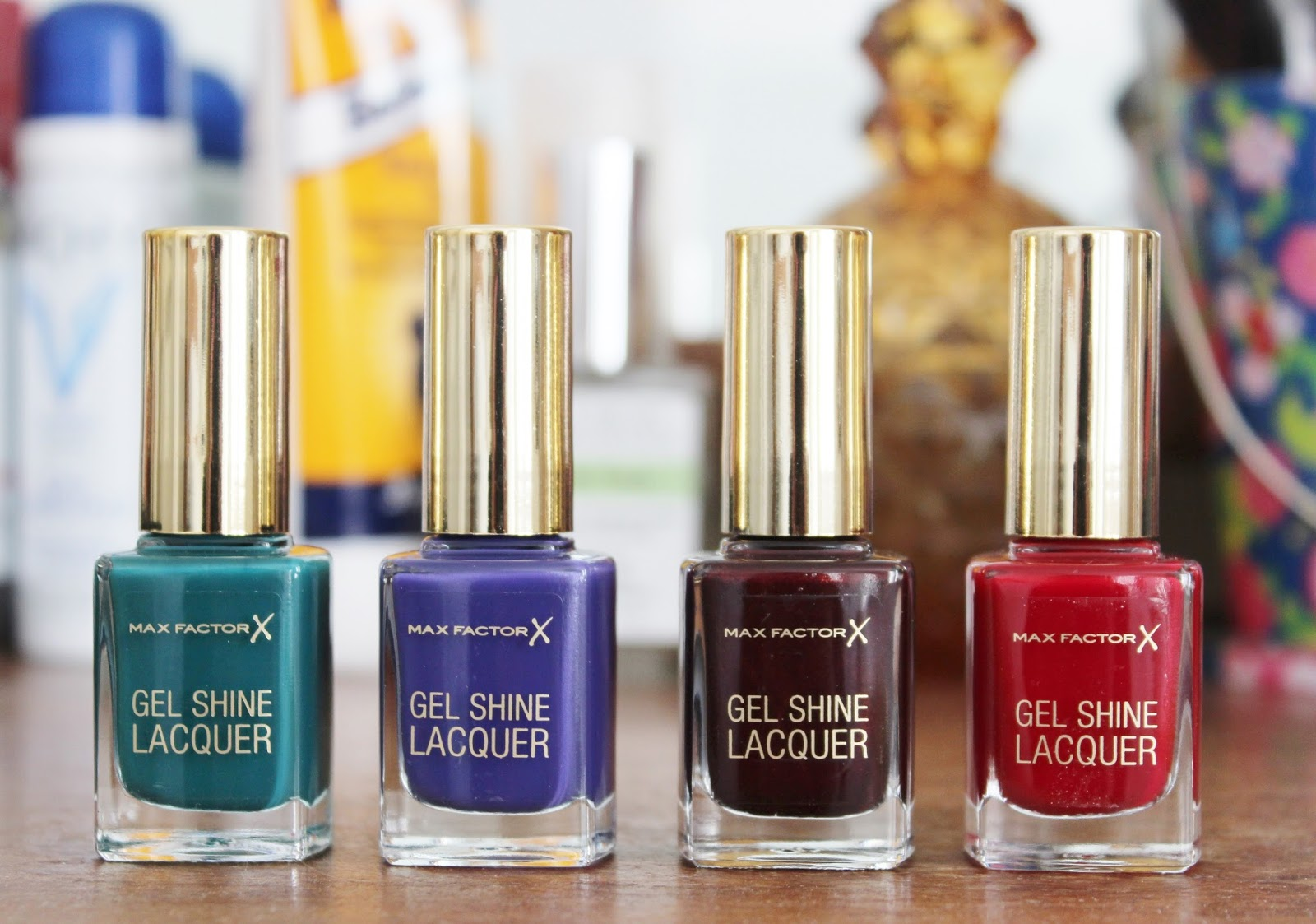 Max Factor Gel Shine lacquer nail polishes, Gleaming Teal, Lacquered Violet, Sheen Merlot, Patent Poppy